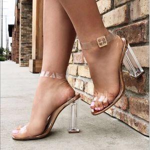 Clear wrap around Fashion Nova Heels
